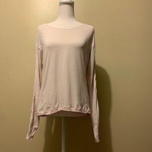 Lululemon pink striped long sleeve key hole back 6